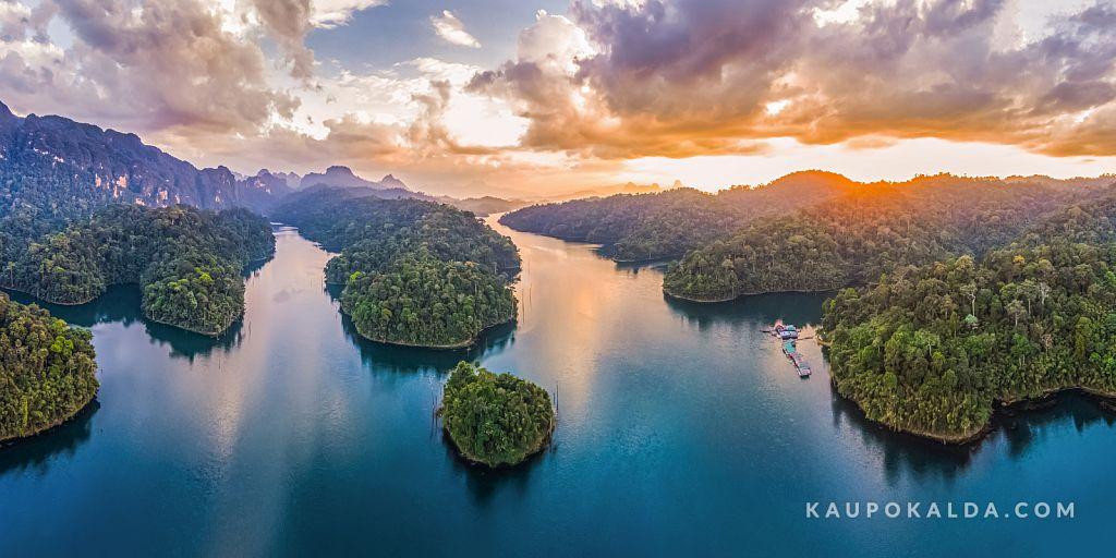 Sunset at Cheow Lan Lake, Thailand